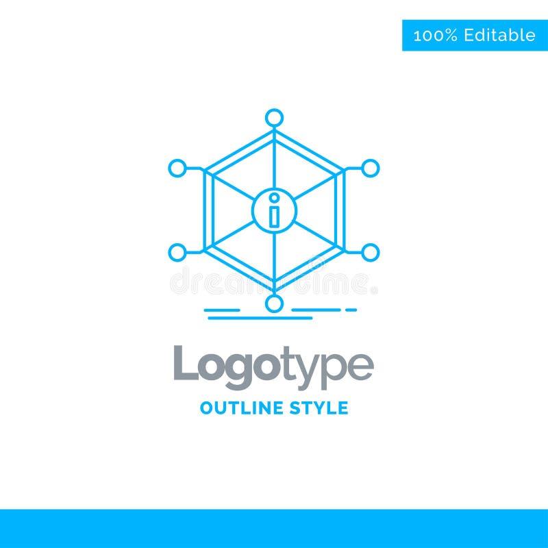 Diseño azul del logotipo para los datos, ayuda, información, información, recursos B ilustración del vector