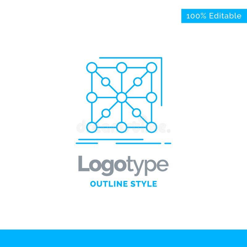 Diseño azul del logotipo para los datos, marco, App, racimo, complejo megabus stock de ilustración