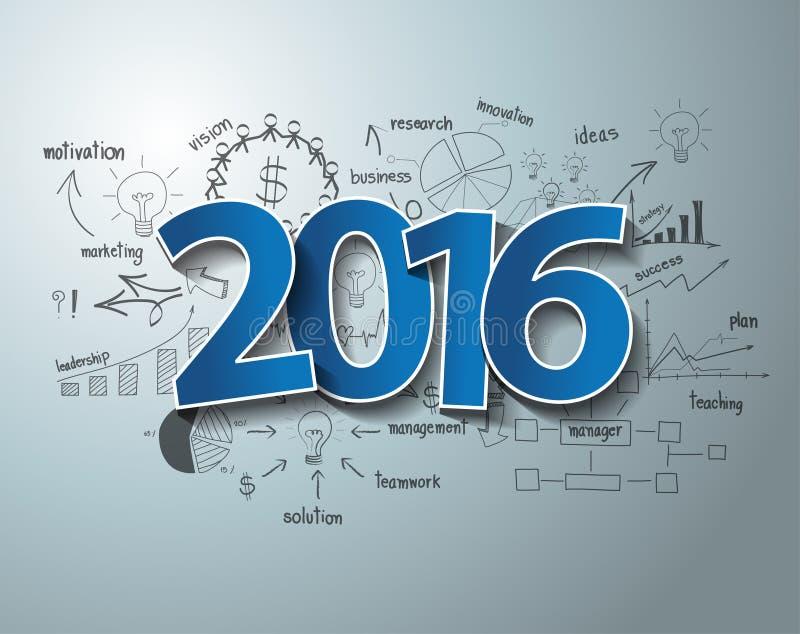 Diseño azul del texto de la etiqueta 2016 de las etiquetas del vector en plan de la estrategia del éxito empresarial stock de ilustración