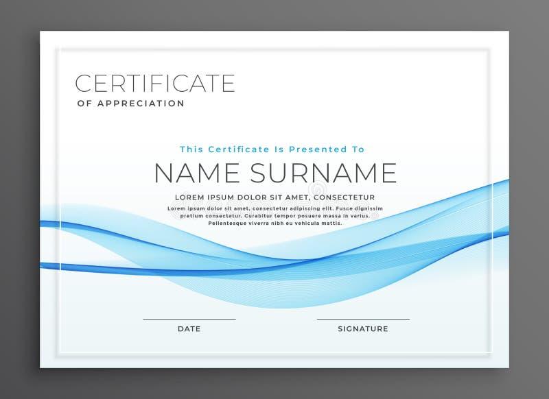 Diseño azul elegante del certificado del diploma de la onda ilustración del vector