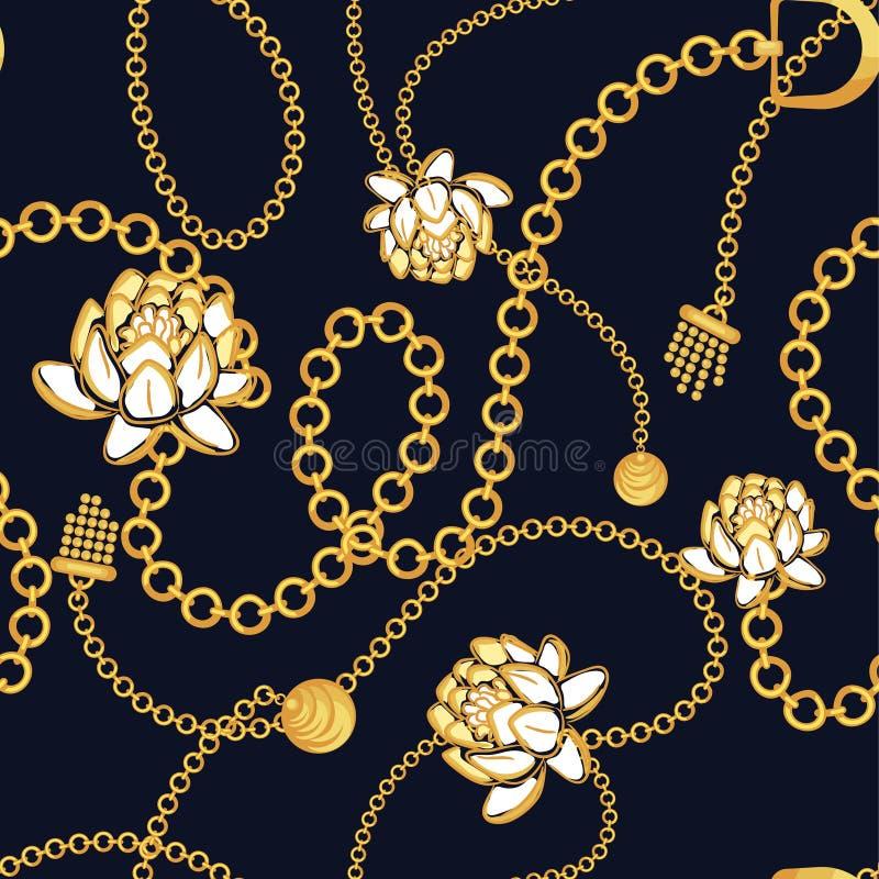 Diseño azul floral intrépido del vector de la moda del modelo de las cadenas de oro ilustración del vector