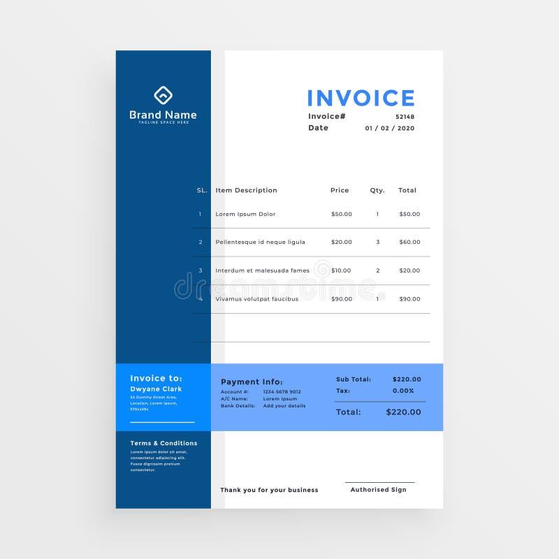 Diseño azul limpio de la plantilla de la factura del negocio libre illustration