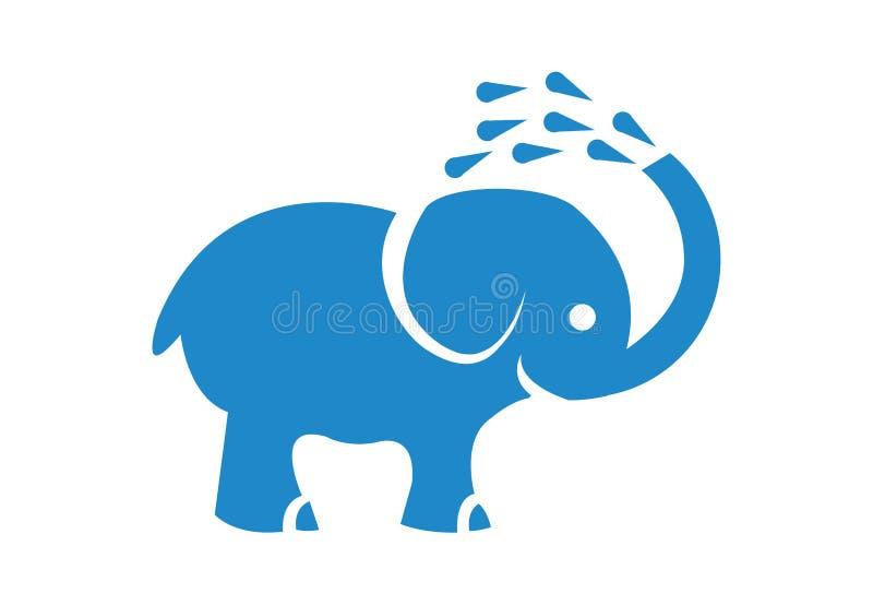 Diseño azul lindo del logotipo del elefante en el fondo blanco stock de ilustración