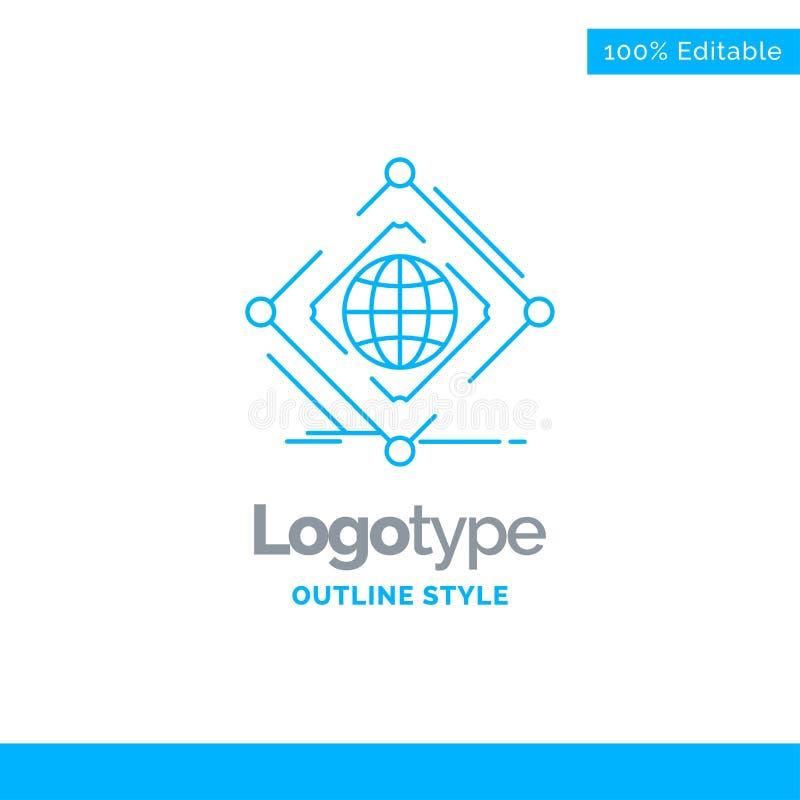 Diseño azul para complejo, global, Internet, red, web del logotipo Busine stock de ilustración