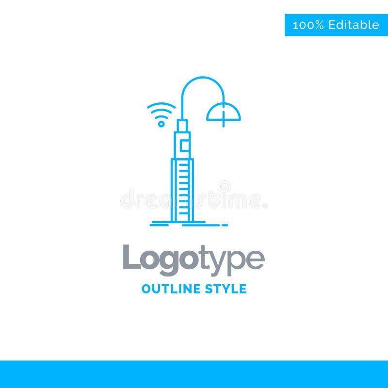 Diseño azul para las luces, calle, wifi, elegante, tecnología del logotipo BU stock de ilustración