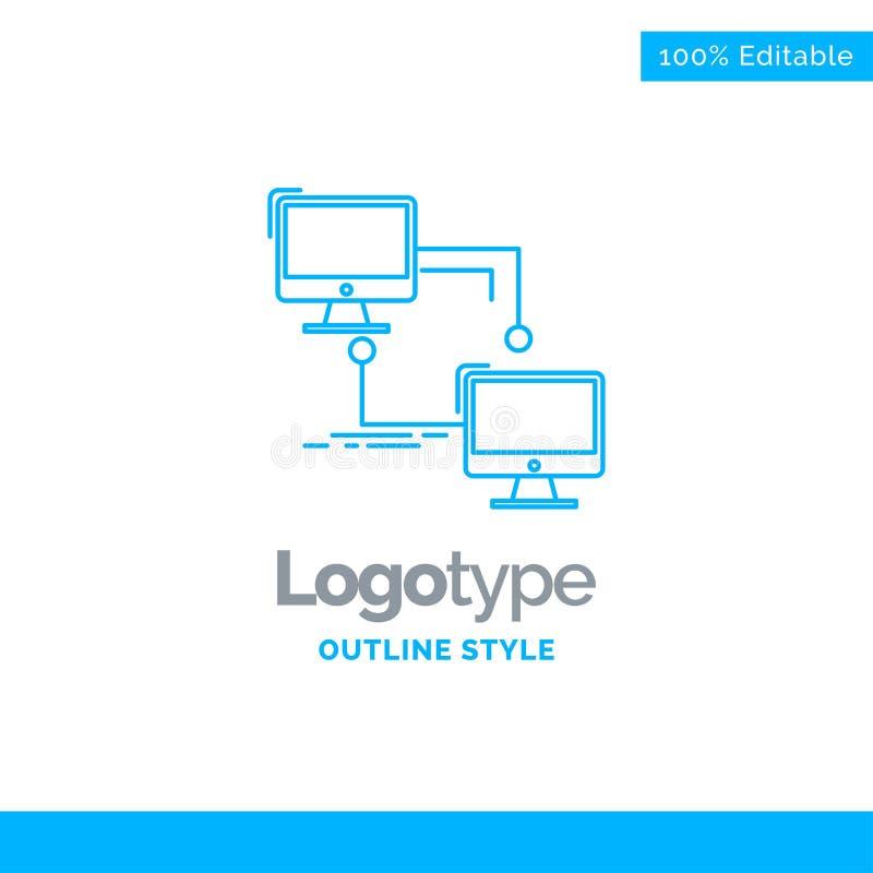 Diseño azul para local, lan, conexión, sincronización, ordenador del logotipo megabus libre illustration