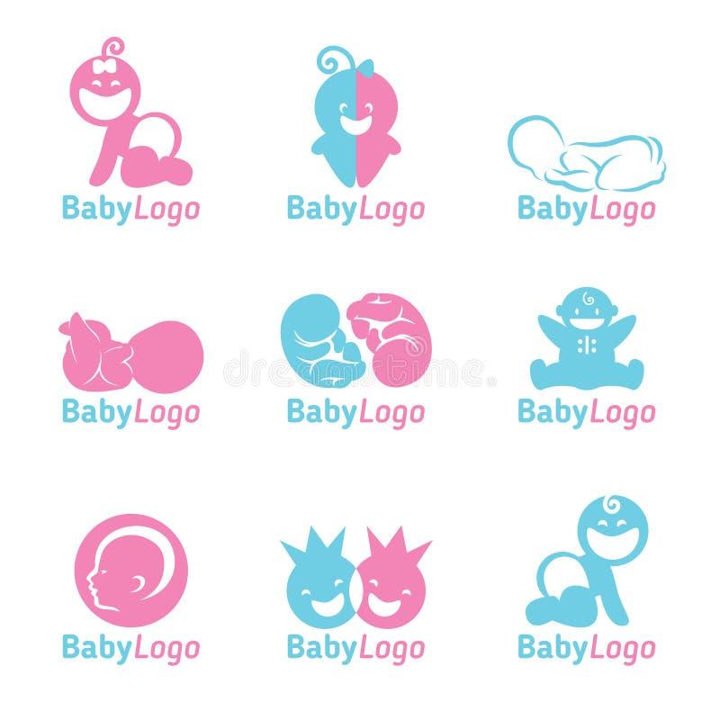 Diseño azul y rosado del vector del logotipo del bebé libre illustration