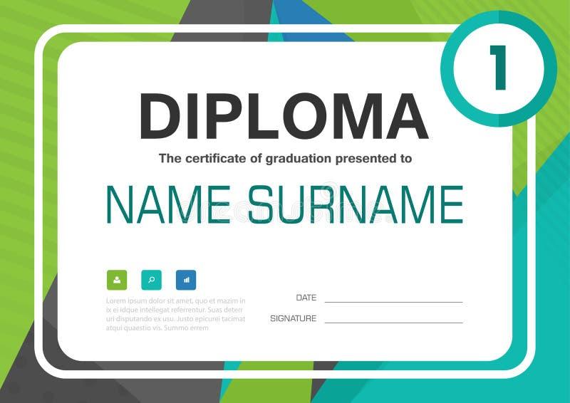 Diseño azulverde de la disposición de la plantilla del fondo del certificado del diploma del negro A4 stock de ilustración