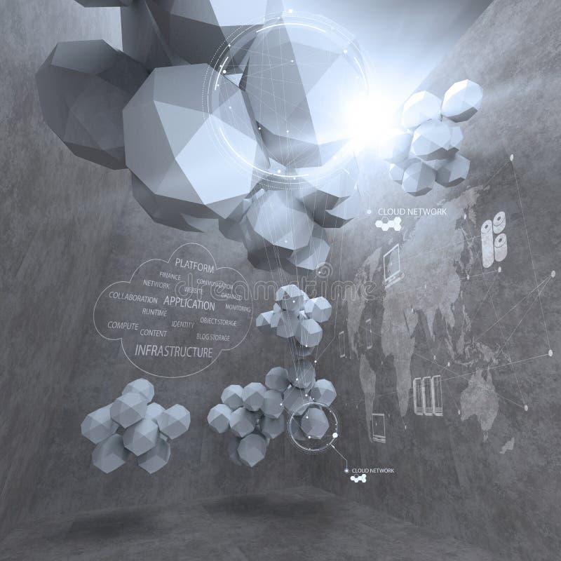 Diseño bajo abstracto del polígono 3d para el ordenador del establecimiento de una red de la nube stock de ilustración