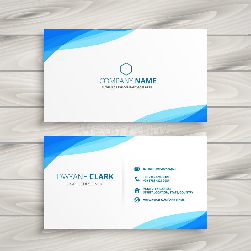 Diseño blanco azul elegante de la tarjeta de visita stock de ilustración