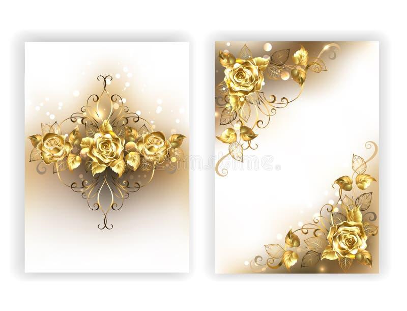 Diseño blanco con las rosas de oro ilustración del vector