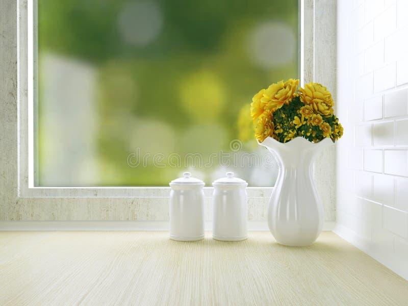 Diseño blanco de la cocina foto de archivo