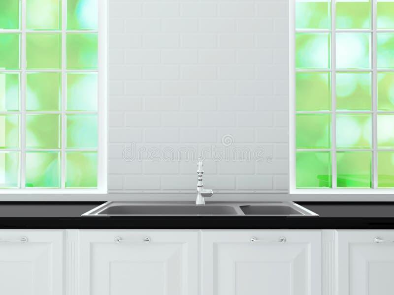 Diseño blanco de la cocina fotografía de archivo