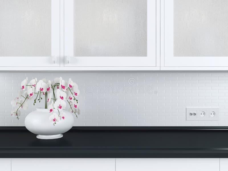 Diseño blanco de la cocina fotografía de archivo libre de regalías