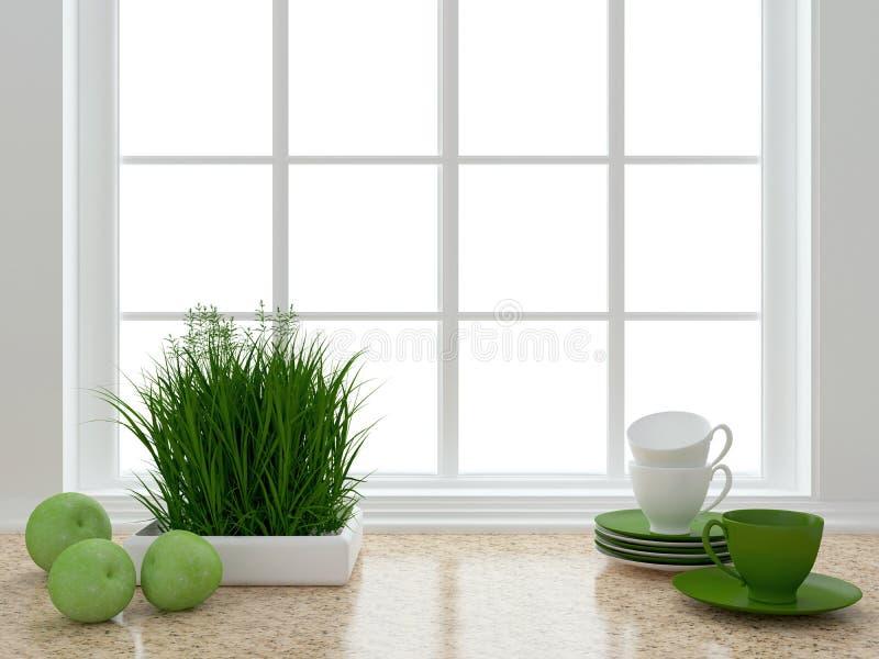 Diseño blanco de la cocina fotos de archivo