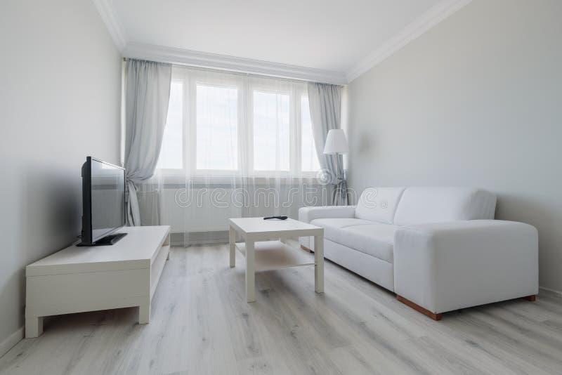 Diseño blanco de la sala de estar imágenes de archivo libres de regalías