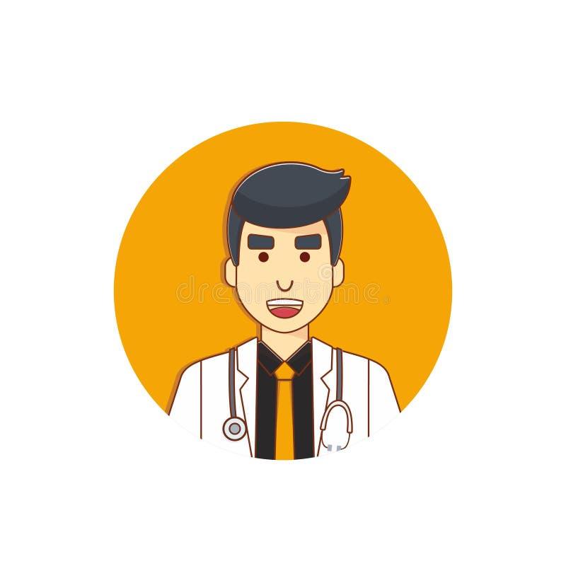Diseño blanco del vector del ejemplo del carácter del doctor que lleva de sexo masculino capa imágenes de archivo libres de regalías