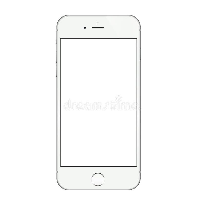 Diseño blanco realista del vector de la pantalla en blanco del iphone 6 libre illustration