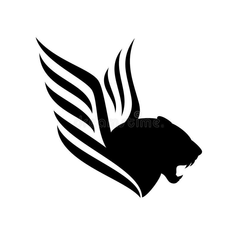 Diseño blanco y negro con alas del vector de la pantera libre illustration