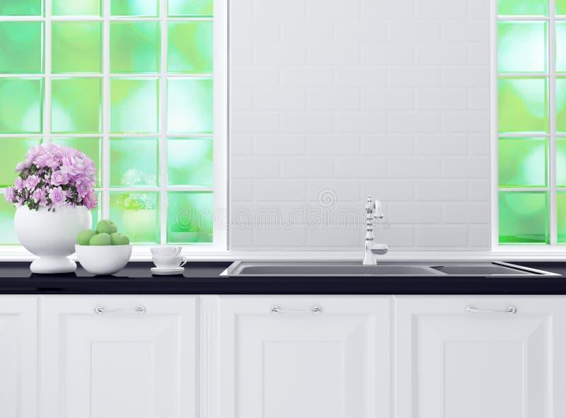 Diseño blanco y negro de la cocina imagenes de archivo
