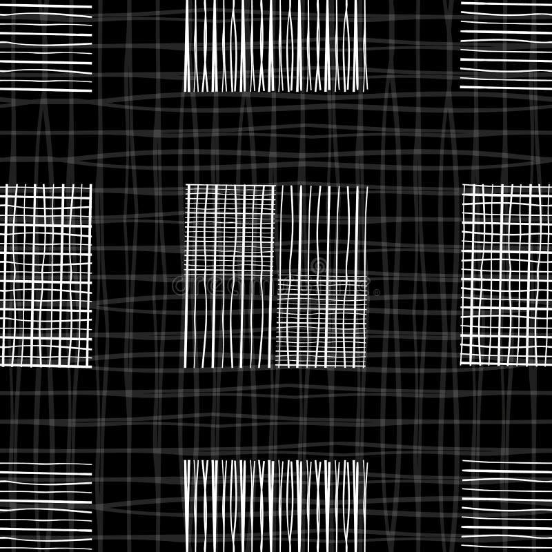Diseño blanco y negro de la pizarra con los cuadrados individuales del garabato de diversas formas Modelo incons?til geom?trico d ilustración del vector