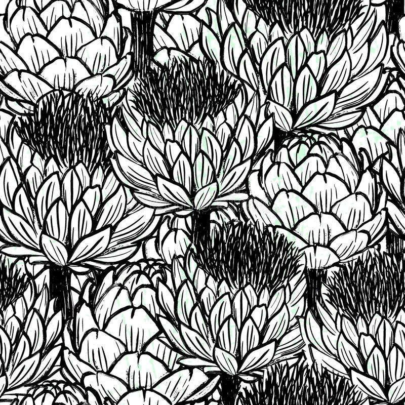 Diseño blanco y negro de los modelos inconsútiles exhaustos de las alcachofas de la mano de la tinta libre illustration