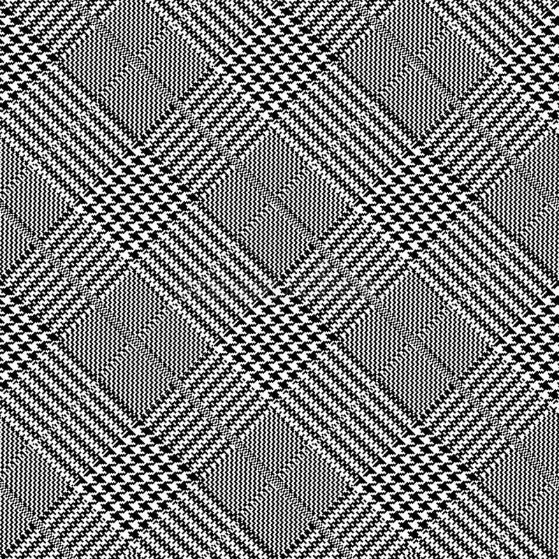 Diseño blanco y negro del fondo de la repetición del extracto y del vector del diente de perros de la diagonal stock de ilustración
