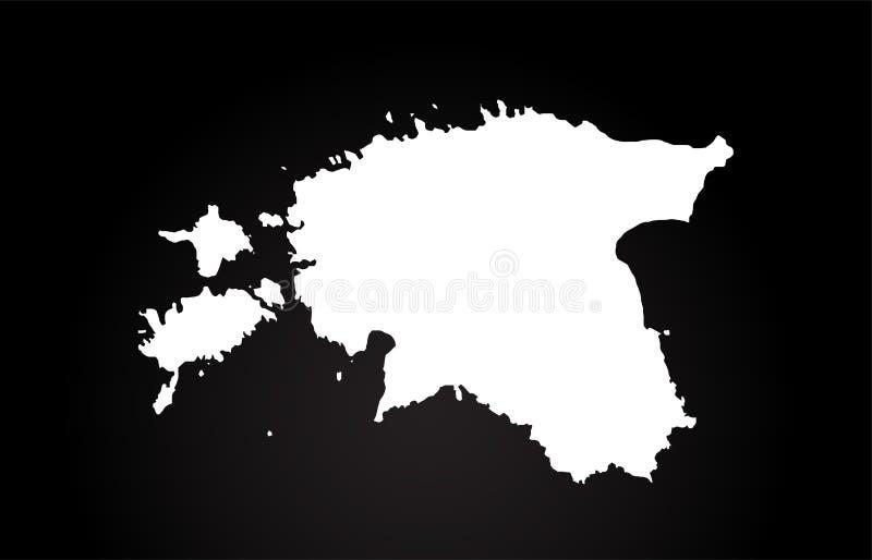 Diseño blanco y negro del logotipo del mapa de la frontera del país de Estonia libre illustration