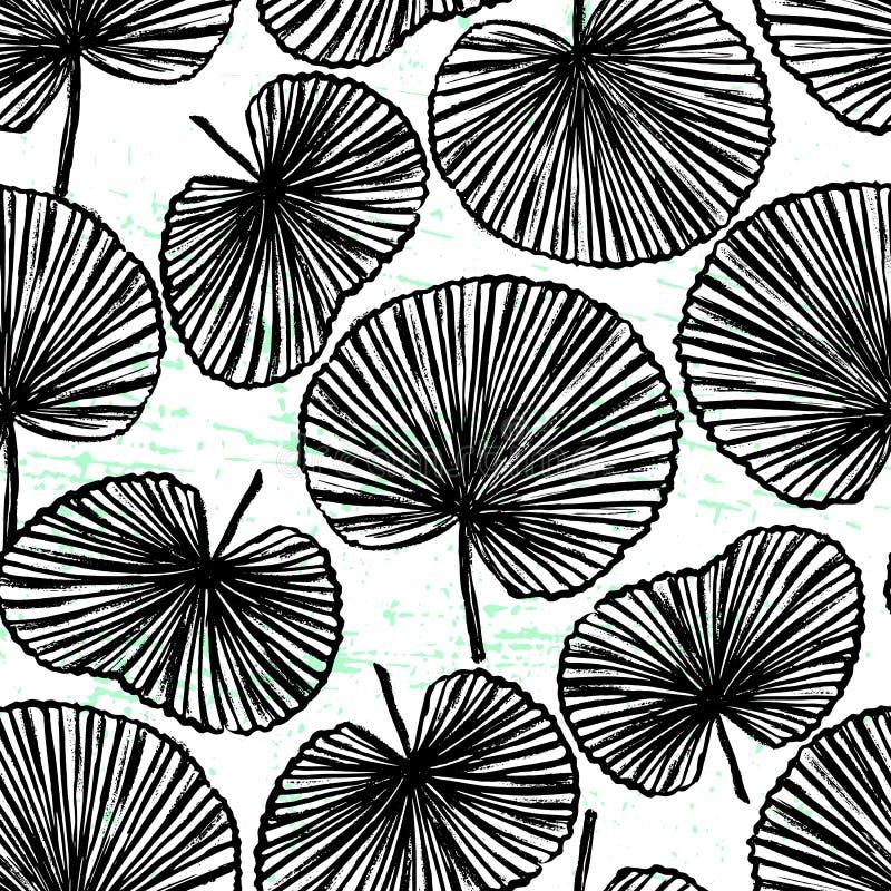 Diseño blanco y negro del modelo inconsútil botánico exhausto de la mano de la tinta libre illustration