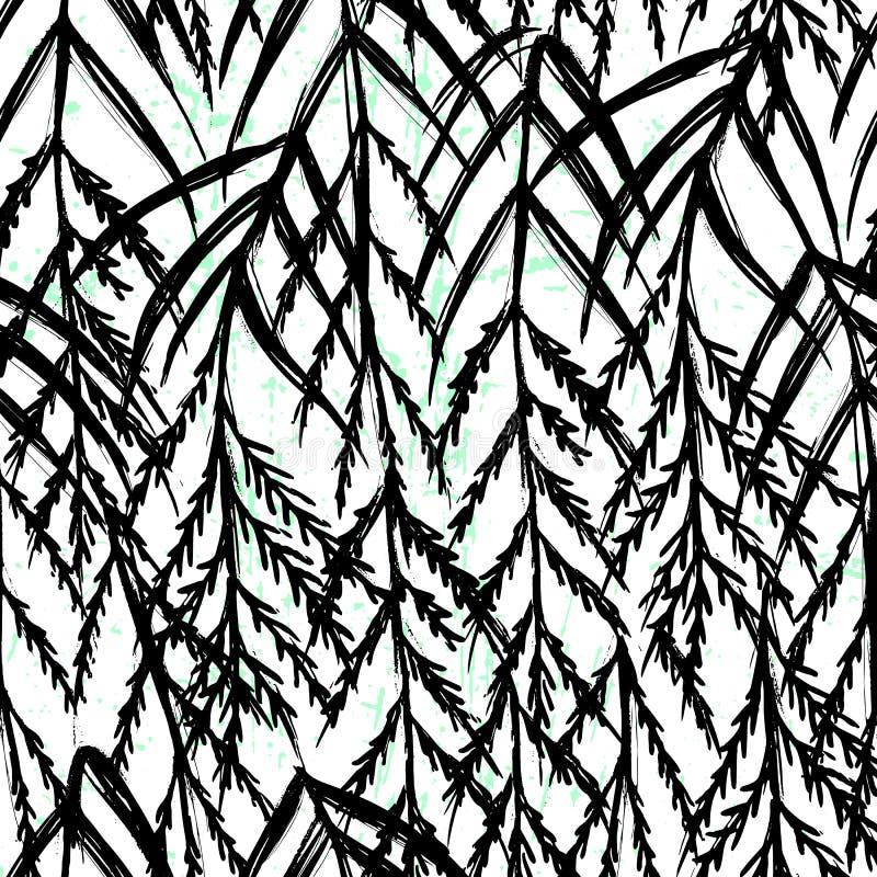 Diseño blanco y negro del modelo inconsútil botánico exhausto de la mano de la tinta ilustración del vector