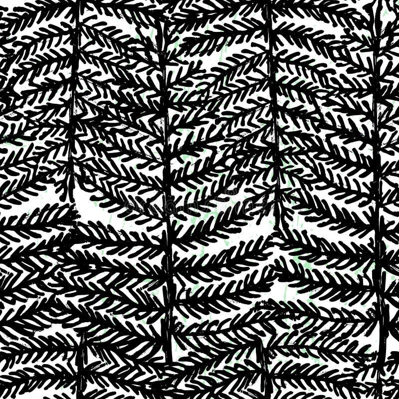 Diseño blanco y negro del modelo inconsútil botánico exhausto de la mano de la tinta stock de ilustración