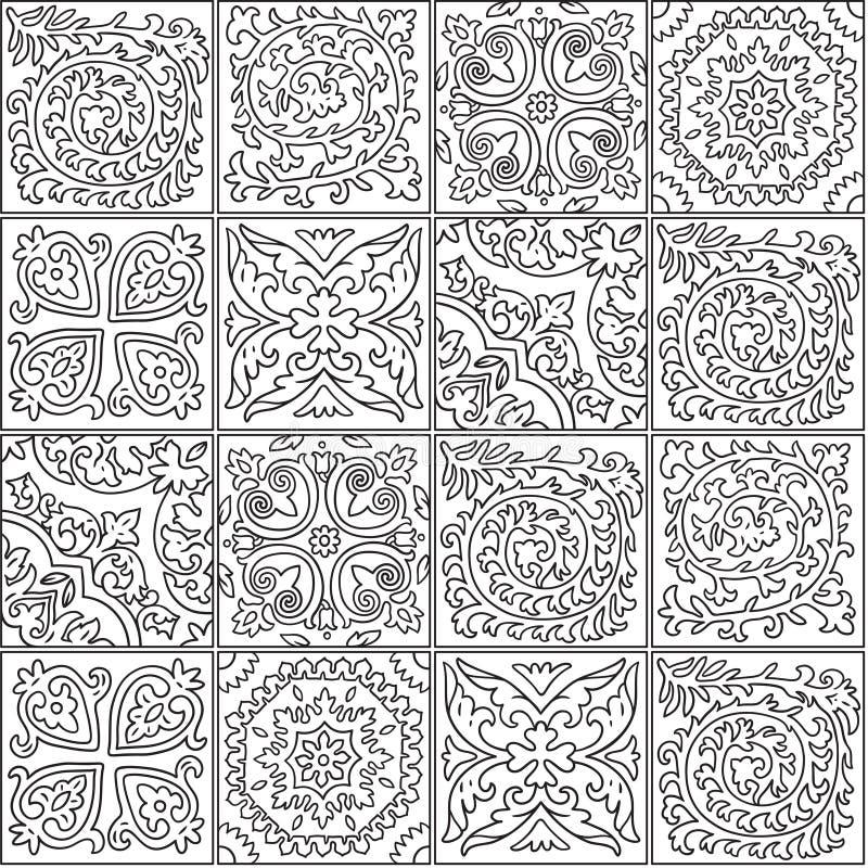 Diseño blanco y negro del mosaico de Marruecos Teja ornamental abstracta en contorno ilustración del vector