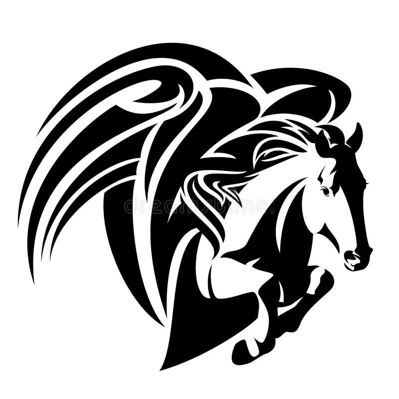 Diseño blanco y negro del vector del caballo de Pegaso ilustración del vector