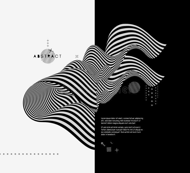 Diseño blanco y negro Modelo con la ilusión óptica Fondo geométrico abstracto 3d stock de ilustración