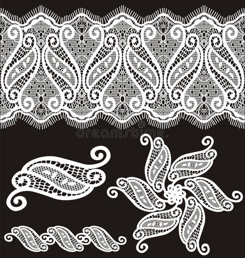Diseño bordado del cordón del guipur stock de ilustración