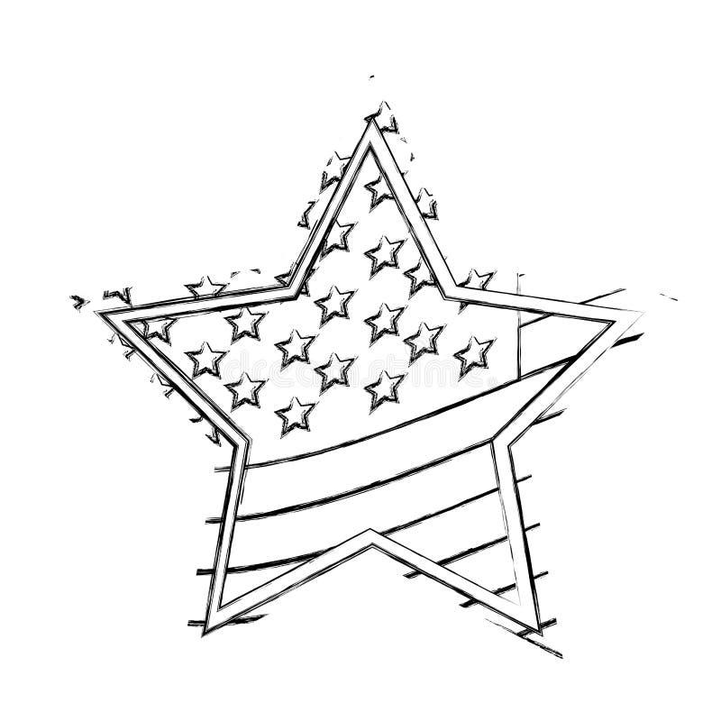 diseño borroso de la bandera de los E.E.U.U. de la estrella de la silueta ilustración del vector