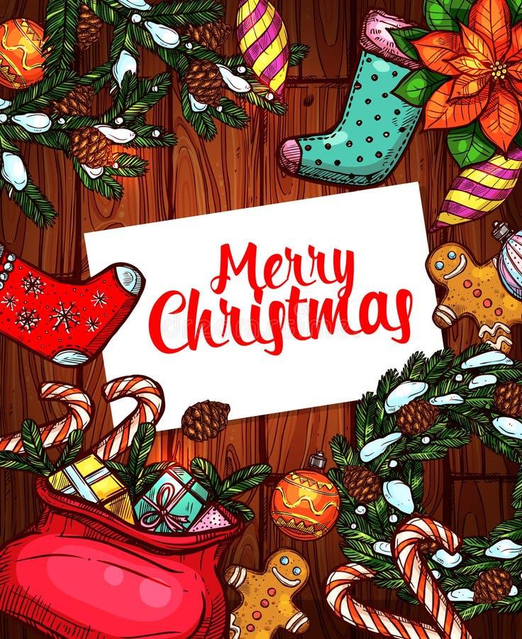 Diseño bosquejado día de fiesta del cartel de la Feliz Navidad libre illustration