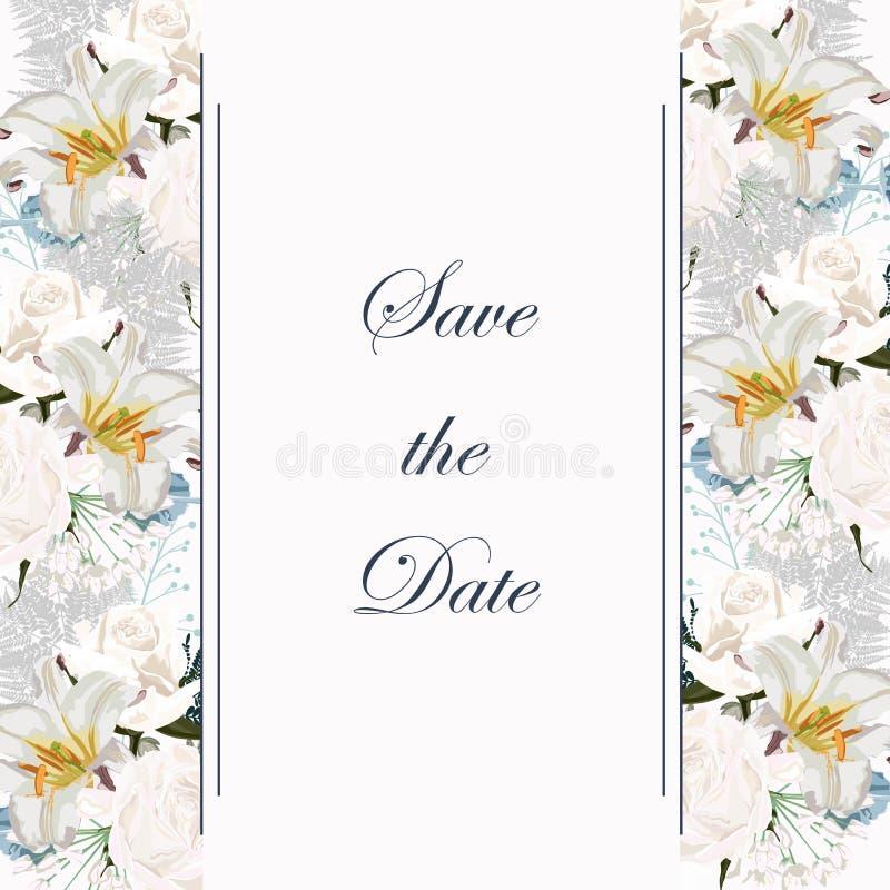 Diseño botánico de la plantilla de la tarjeta de la invitación de la boda de la primavera, rosas blancas y lirios, composición sa ilustración del vector