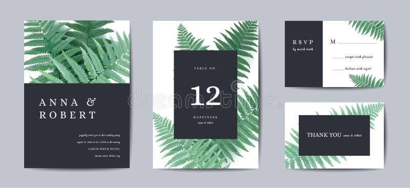 Diseño botánico de la plantilla de la tarjeta de la invitación que se casa, Fern Leaves en el estilo moderno, colección de reserv stock de ilustración