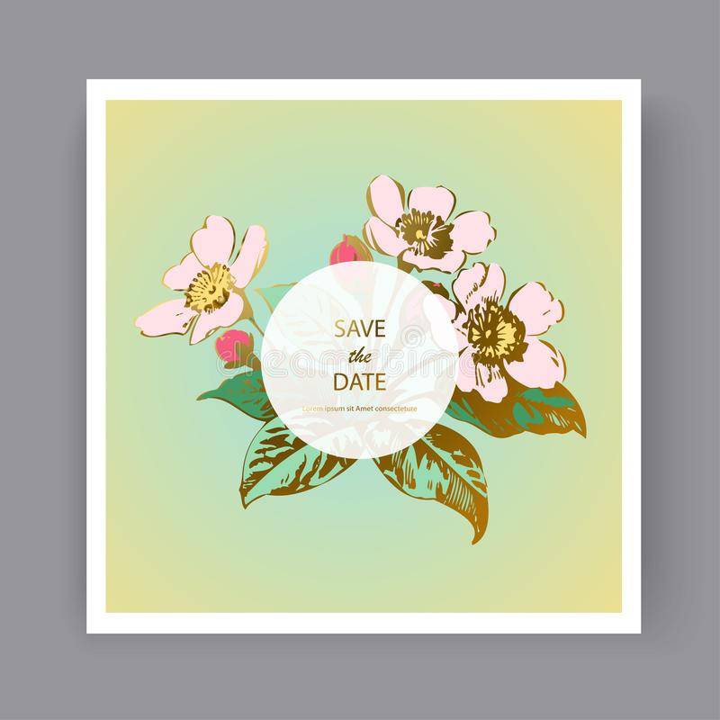 Diseño botánico de la plantilla de la tarjeta de la invitación que se casa, flores de Sakura de la mano y hojas exhaustas en las  stock de ilustración