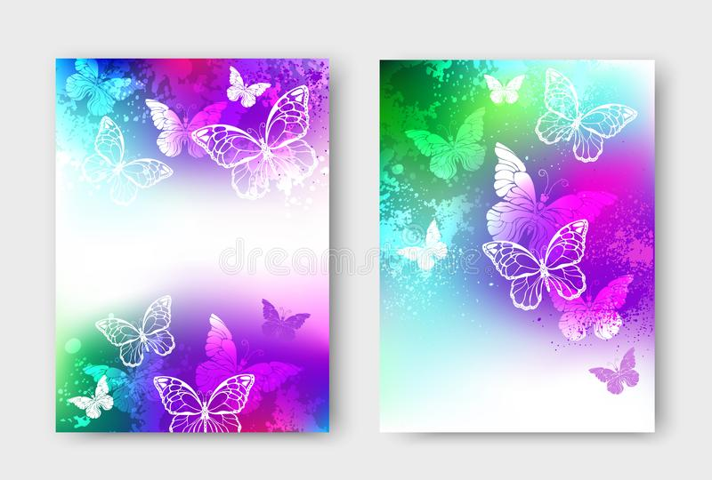 Diseño brillante con las mariposas blancas ilustración del vector