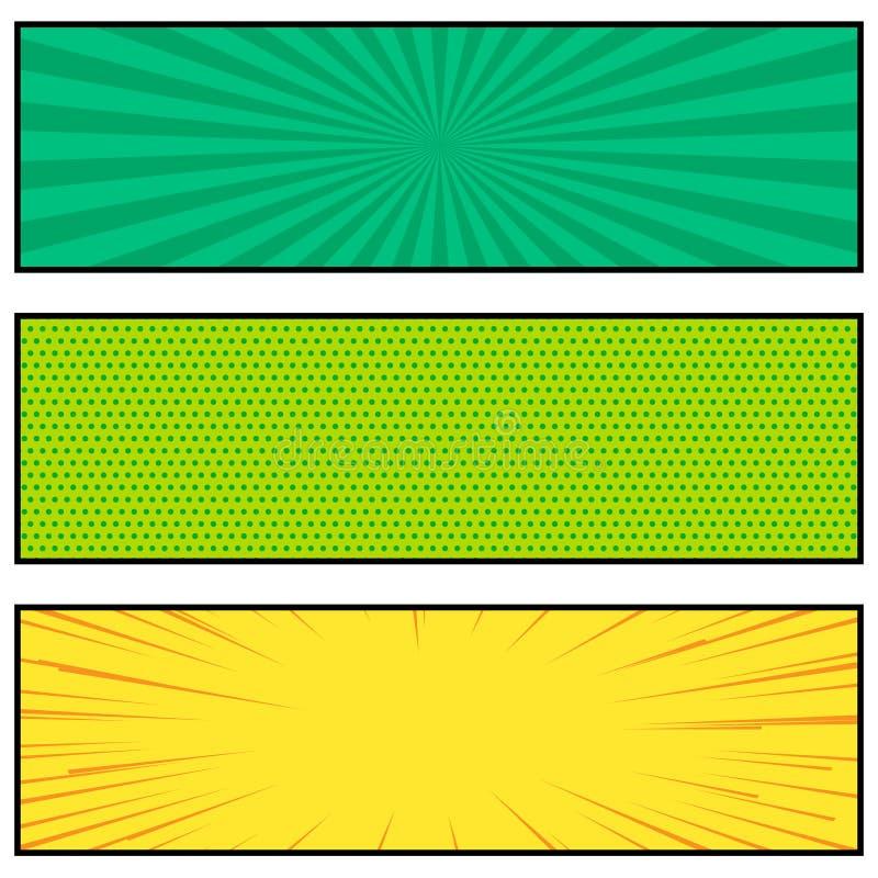 Diseño brillante de la bandera del estilo del cómic tres stock de ilustración