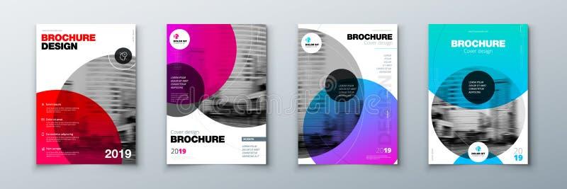 Diseño brillante de la cubierta del folleto del círculo Disposición de la plantilla para el informe anual, la revista, el catálog stock de ilustración
