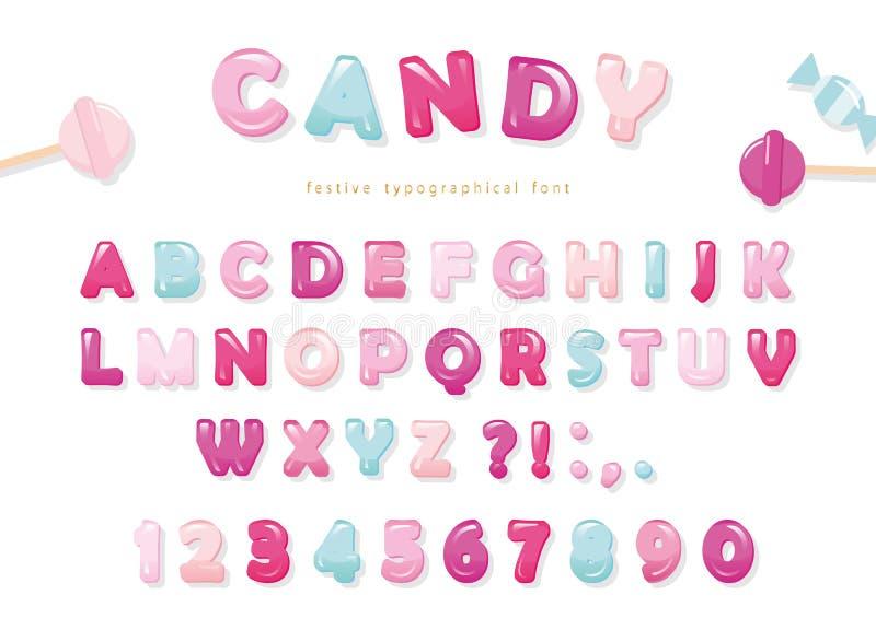 Diseño brillante de la fuente del caramelo Letras y números de ABC del rosa en colores pastel y del azul Dulces para las muchacha stock de ilustración
