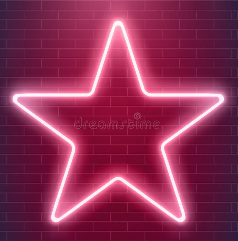 Diseño brillante del disco Estrella de neón del vector Ejemplo iluminado que brilla intensamente EPS 10 ilustración del vector