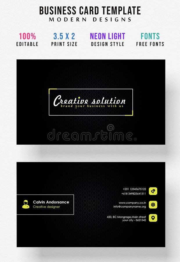 Diseño brillante mínimo de la tarjeta de visita del color por completo editable libre illustration