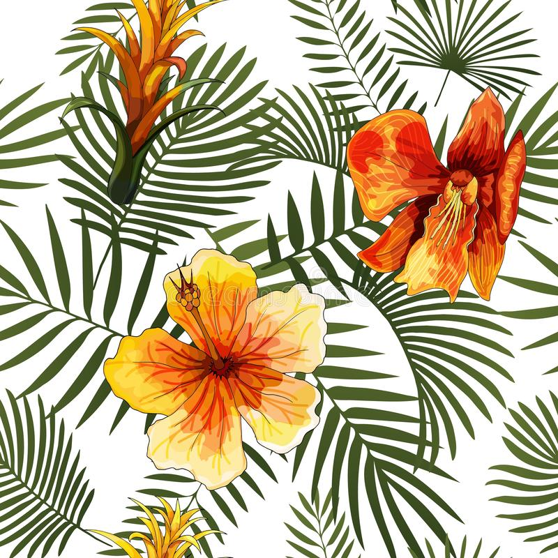 Diseño brillante moderno de la impresión del verano del modelo tropical inconsútil del vector foto de archivo