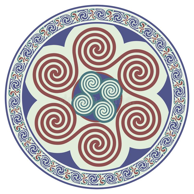 Diseño céltico redondo Mandala céltica stock de ilustración
