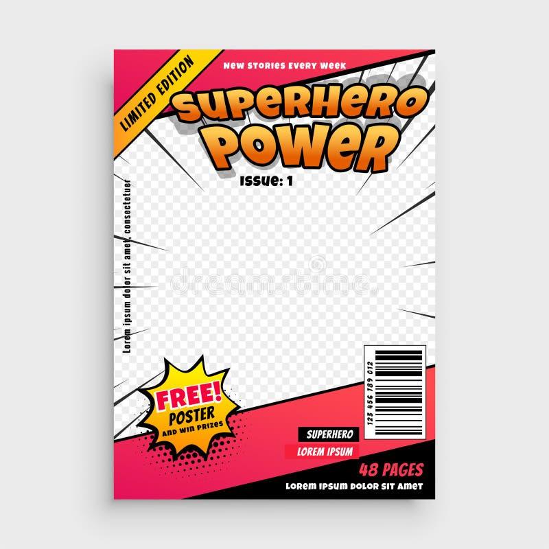 Diseño cómico de la página de la portada de la revista del super héroe libre illustration
