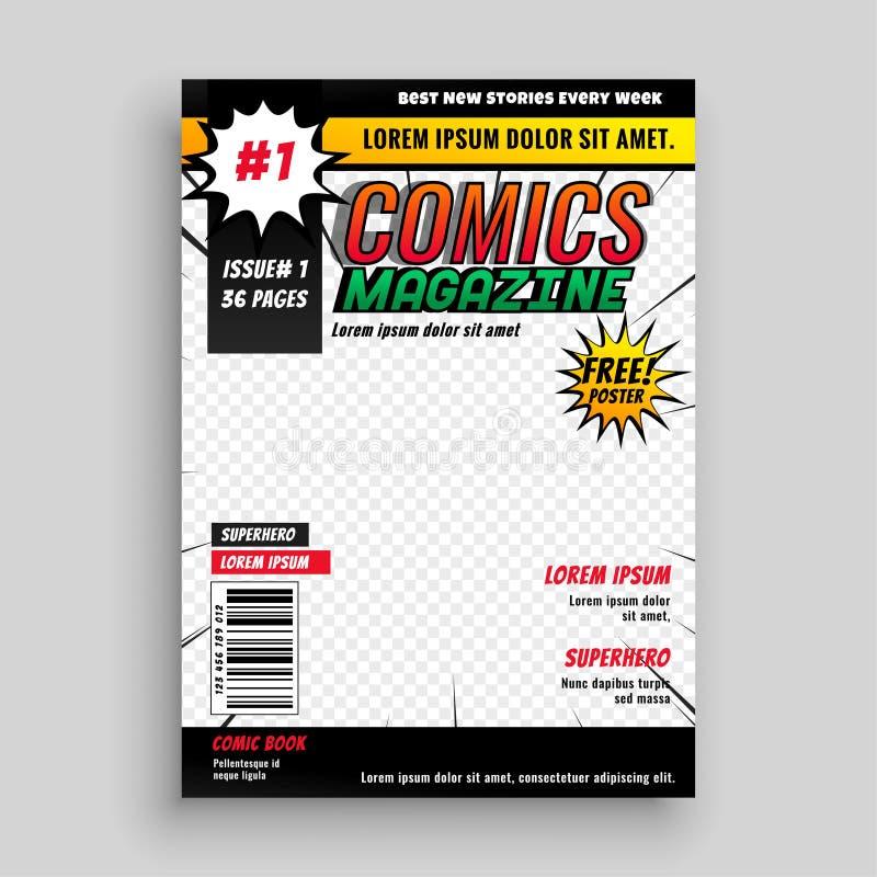 Diseño cómico de la plantilla de la cubierta de libro de la revista stock de ilustración